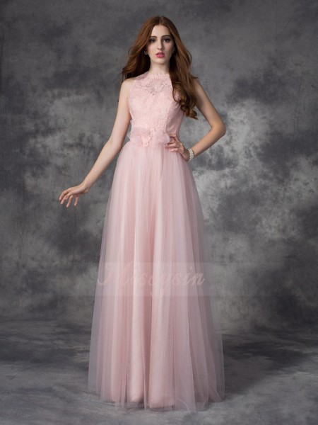 A-line/Princess Sleeveless Bateau Long Pearl Pink Dresses