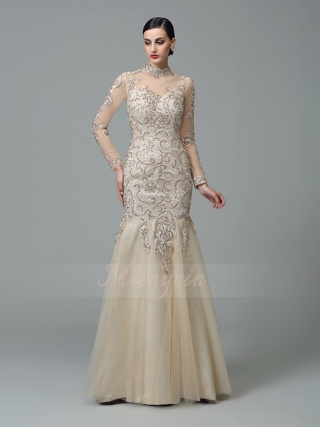 Sheath/Column Long Sleeves High Neck Long Champagne Dresses