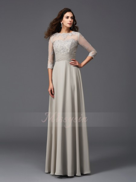 A-Line/Princess 3/4 Sleeves Scoop Long Silver dresses