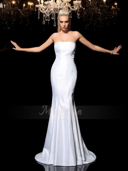 Sheath/Column Sleeveless Strapless Sweep/Brush Train White Dresses