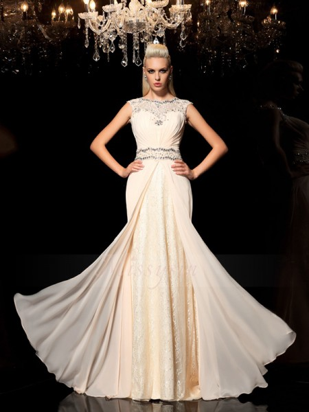 A-Line/Princess Sleeveless Sheer Neck Long Champagne Dresses