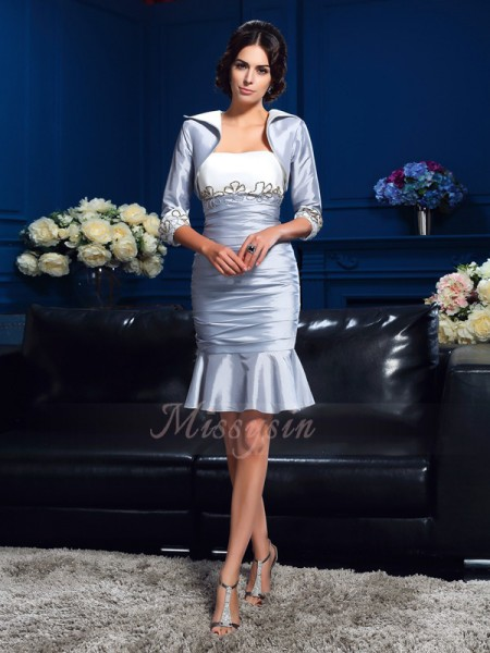 Sheath/Column Sleeveless Sweetheart Short Silver Mother of the Bride Dresses