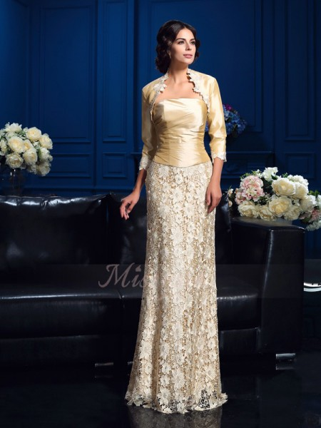 A-Line/Princess Sleeveless Strapless Long Champagne Mother of the Bride Dresses