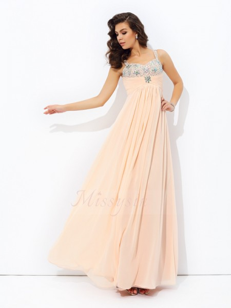 A-line/Princess Sleeveless Spaghetti Straps Long Pearl Pink Dresses
