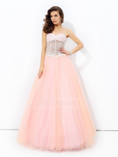 A-line/Princess Sleeveless Sweetheart Long Pink Dresses