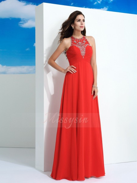A-Line/Princess Sleeveless Sheer Neck Long Watermelon dresses