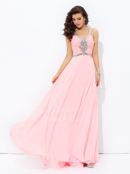 A-line/Princess Sleeveless Straps Long Pink Dresses