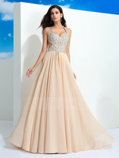 A-Line/Princess Sleeveless Straps Sweep/Brush Train Champagne dresses