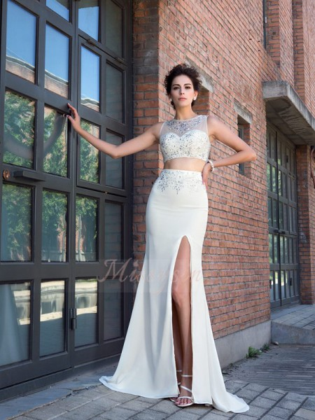 Sheath/Column Sleeveless High Neck Sweep/Brush Train Ivory Dresses