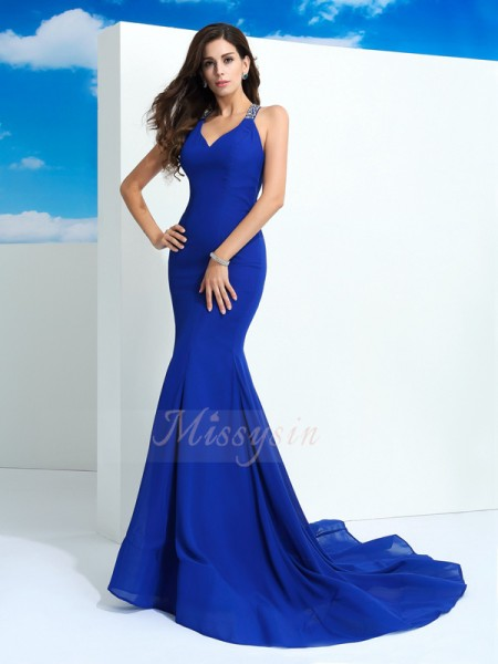 Sheath/Column Sleeveless Straps Court Train Royal Blue dresses