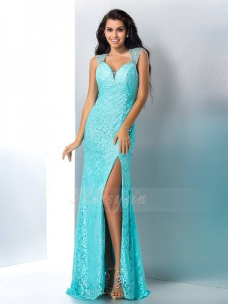 Trumpet/Mermaid Sleeveless Sweetheart Long Blue Dresses