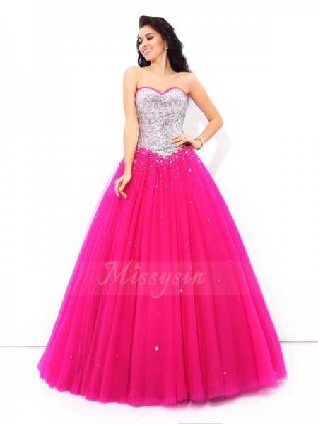 Ball Gown Sleeveless Sweetheart Long Fuchsia Quinceanera Dresses