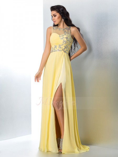 A-Line/Princess Sleeveless Sheer Neck Sweep/Brush Train Yellow Dresses