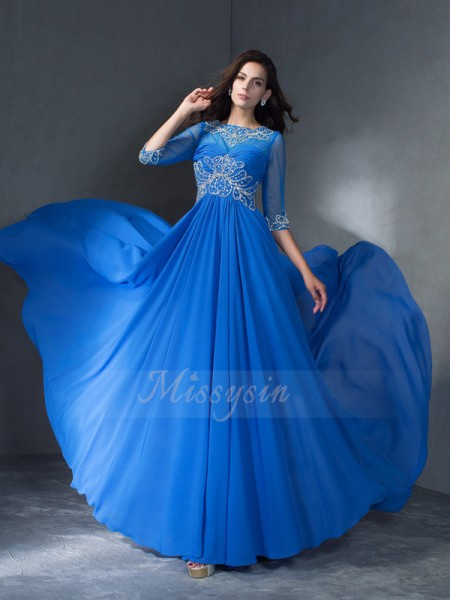 A-Line/Princess 1/2 Sleeves Scoop Sweep/Brush Train Blue Dresses