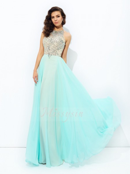 A-line/Princess Sleeveless Jewel Long Light Sky Blue Dresses