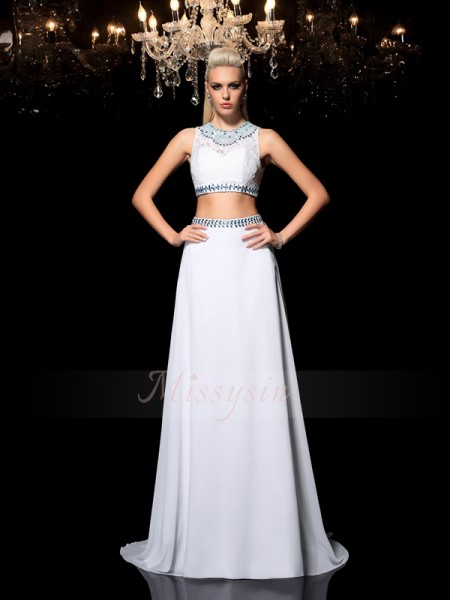 A-Line/Princess Sleeveless Jewel Long White Dresses