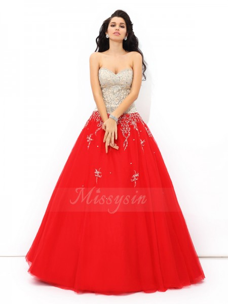 Ball Gown Sleeveless Sweetheart Long Red Quinceanera Dresses