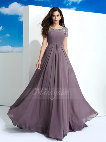 A-Line/Princess Short Sleeves Sheer Neck Long Brown dresses