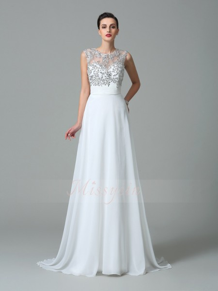 A-Line/Princess Sleeveless Jewel Sweep/Brush Train White Dresses