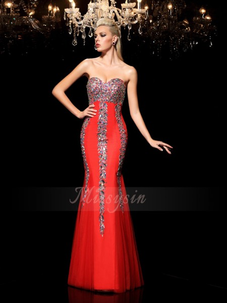 Sheath/Column Sleeveless Sweetheart Long Red Dresses