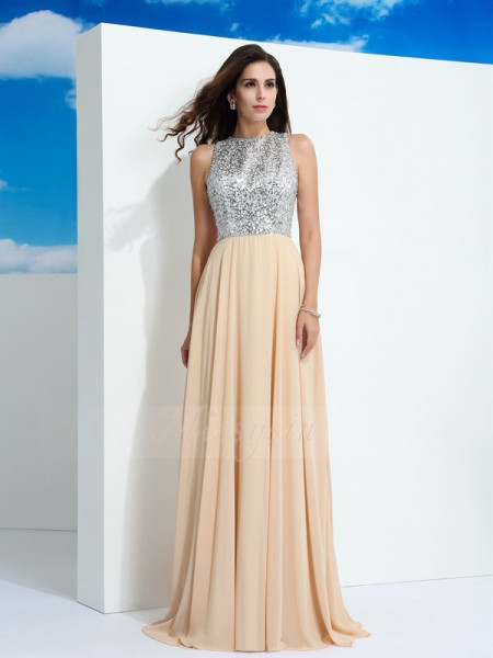A-Line/Princess Sleeveless Scoop Sweep/Brush Train Champagne dresses