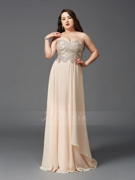 A-Line/Princess Sleeveless Sweetheart Sweep/Brush Train Champagne Dresses