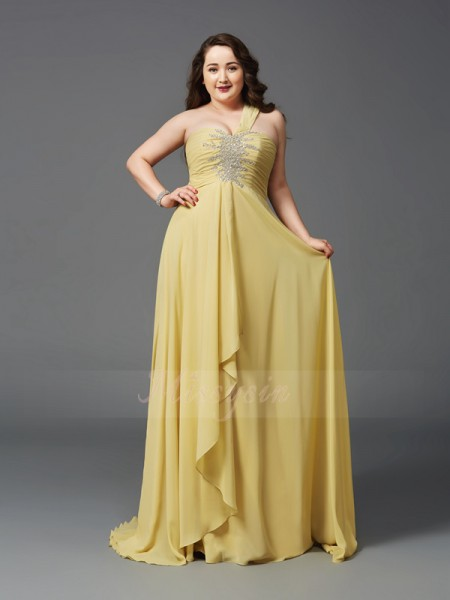 A-Line/Princess Sleeveless One-Shoulder Sweep/Brush Train Daffodil Dresses