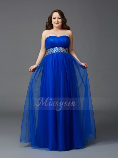 A-Line/Princess Sleeveless Strapless Long Royal Blue Dresses