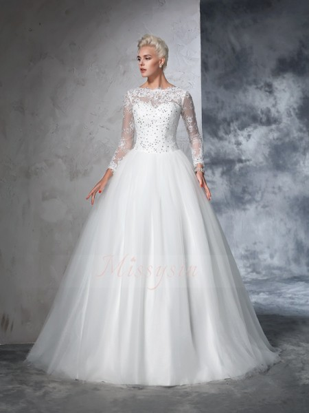 Ball Gown Long Sleeves Bateau Sweep/Brush Train Ivory Wedding Dresses