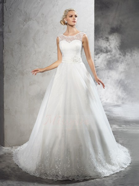 Ball Gown Sleeveless Sheer Neck Court Train Ivory Wedding Dresses