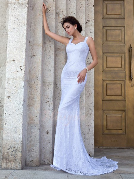 Sheath/Column Sleeveless Straps Court Train Ivory Wedding Dresses