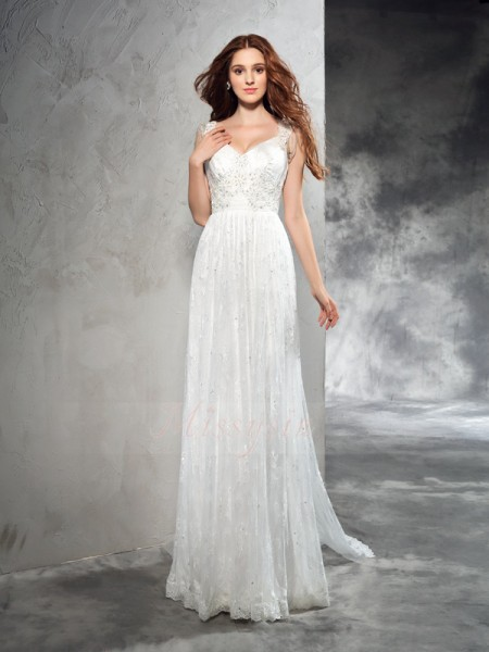 A-Line/Princess Sleeveless Straps Court Train Ivory Wedding Dresses