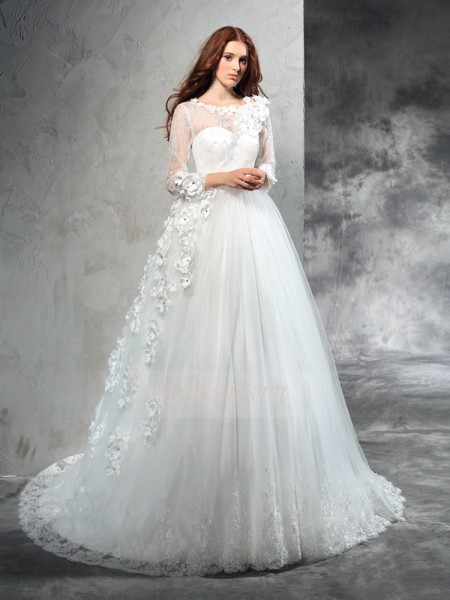Ball Gown Long Sleeves Sheer Neck Court Train Ivory Wedding Dresses