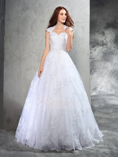Ball Gown Sleeveless Sweetheart Court Train White Wedding Dresses