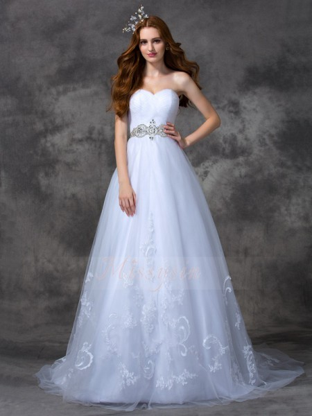 A-line/Princess Sleeveless Sweetheart Sweep/Brush Train White Wedding Dresses