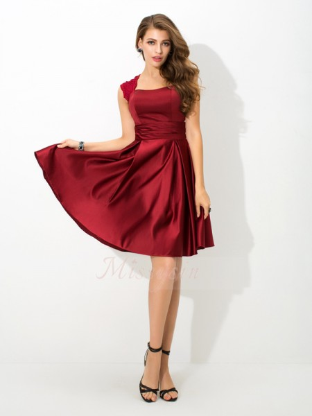 A-Line/Princess Sleeveless Straps Short Burgundy Bridesmaid Dresses