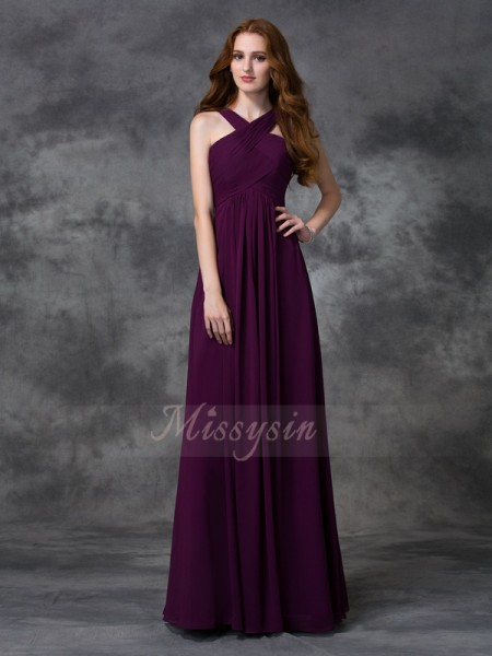 A-line/Princess Sleeveless Straps Long Burgundy Bridesmaid Dresses