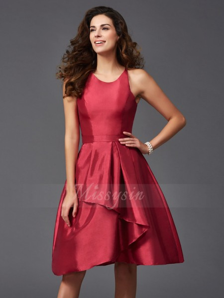 A-Line/Princess Sleeveless Scoop Short Burgundy Bridesmaid Dresses