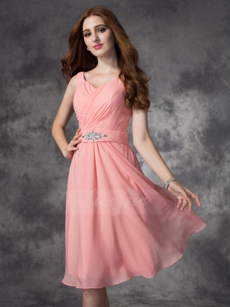 A-line/Princess Sleeveless Straps Short Pink Bridesmaid Dresses