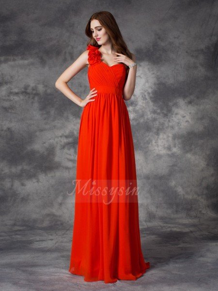 A-line/Princess Sleeveless One-Shoulder Long Red Bridesmaid Dresses