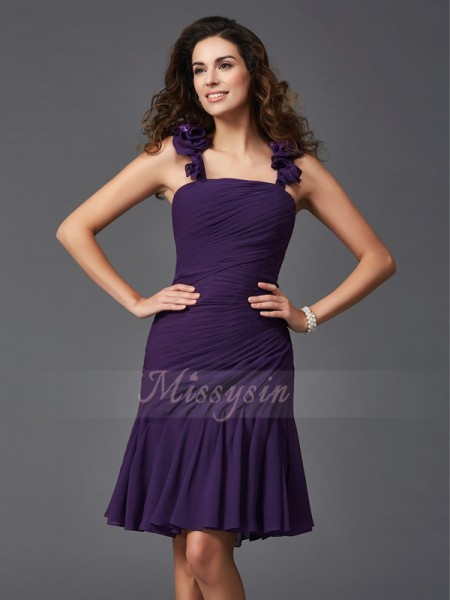 Sheath/Column Sleeveless Straps Short Grape Dresses