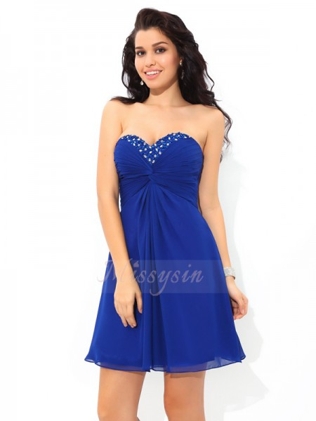 A-Line/Princess Sleeveless Sweetheart Short Royal Blue Dresses