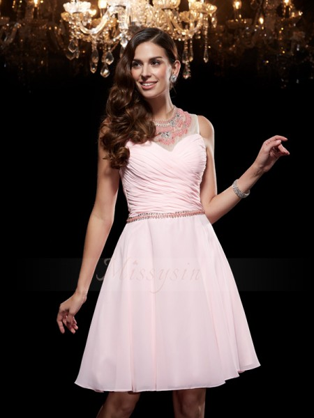 A-Line/Princess Sleeveless Scoop Short Pink Dresses