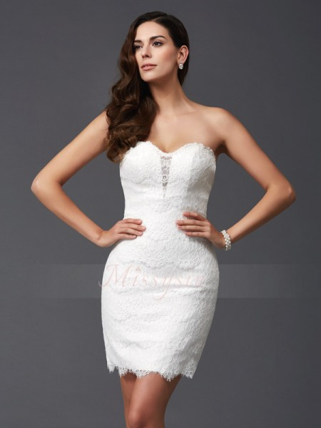 Sheath/Column Sleeveless Sweetheart Short Ivory Dresses
