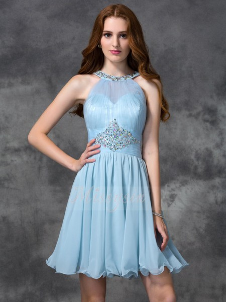 A-line/Princess Sleeveless Scoop Short Light Sky Blue Dresses