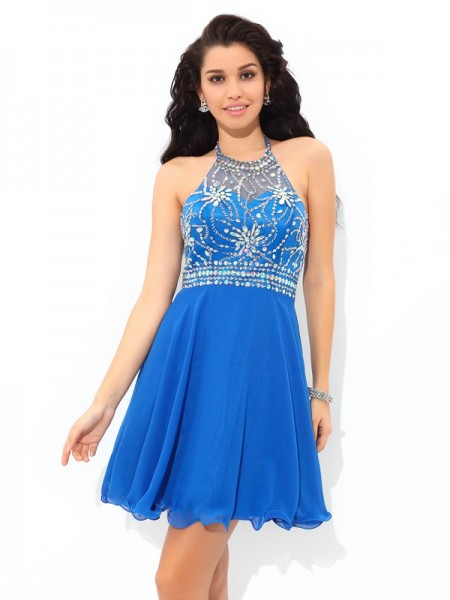 A-Line/Princess Sleeveless Halter Short Royal Blue Dresses