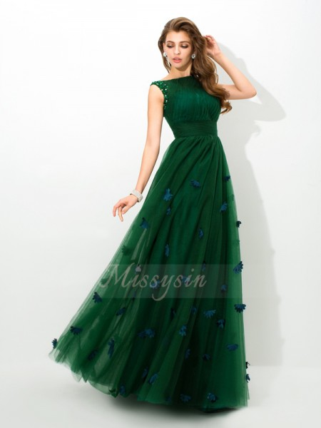 A-Line/Princess Sleeveless Sheer Neck Long Green Dresses