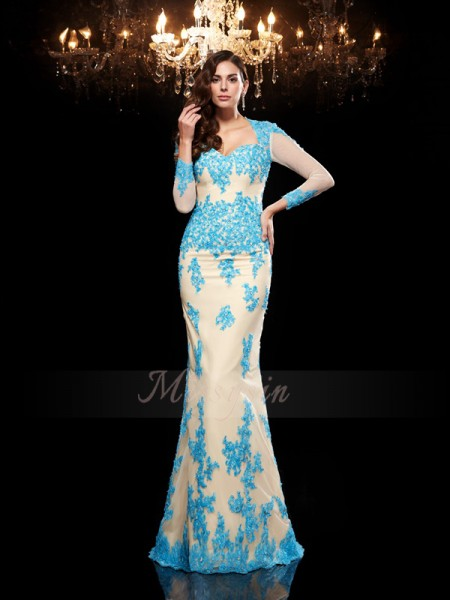 Trumpet/Mermaid 3/4 Sleeves Sweetheart Sweep/Brush Train Blue dresses