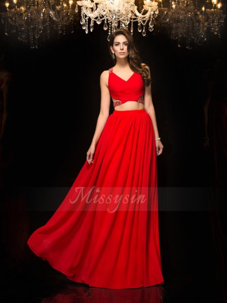 A-Line/Princess Sleeveless V-neck Long Red Dresses