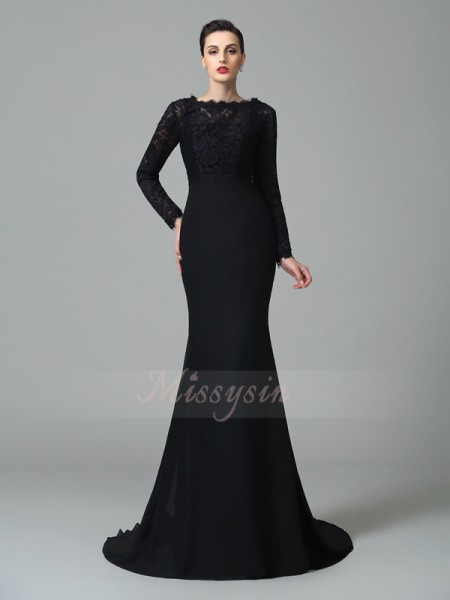 Trumpet/Mermaid Sleeveless Square Court Train Black Dresses